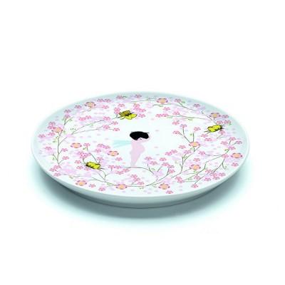 Djeco Assiette plate en porcelaine crème fleurette : 20.5 cm