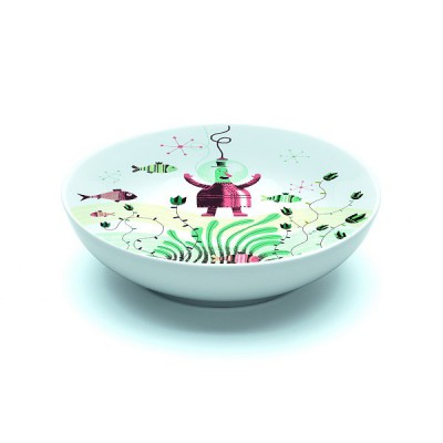 Djeco Assiette creuse en porcelaine fish & chips : 16.5 cm