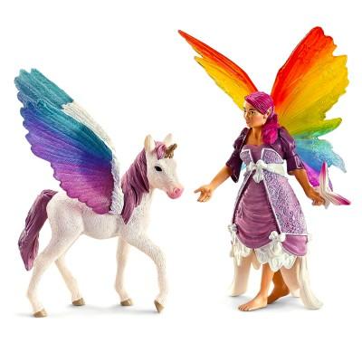 Schleich Figurine Elfe de l'Arc-en-ciel Lis avec licorne