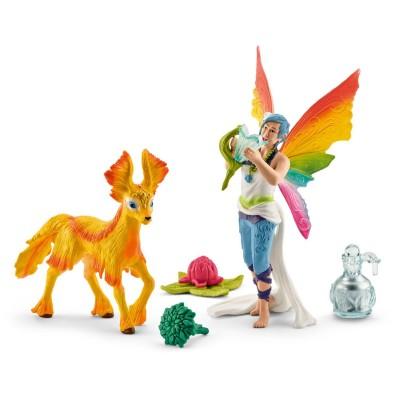 Schleich Figurines Elfe arc-en-ciel Dunya et son poulain