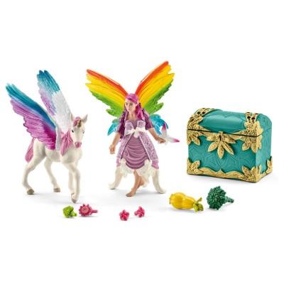 Schleich Figurines Lis l'elfe arc-en-ciel avec bébé licorne ailé