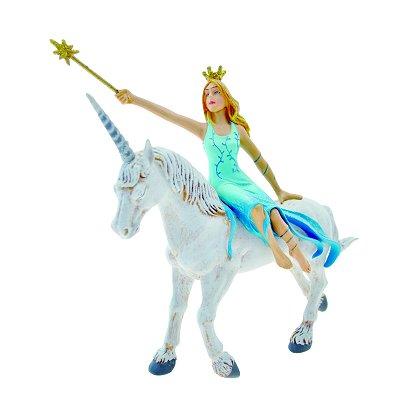 Plastoy Figurine Fée bleue sur la licorne