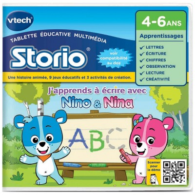 Vtech Jeu pour console de jeux Storio 2 Ecriture : J'apprends à écrire avec Nina et Nino. Jeu pour console de jeux Storio 2 Ecriture : J