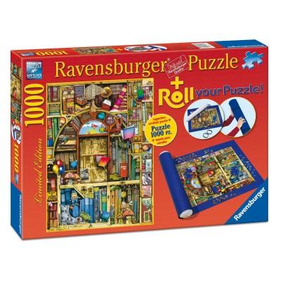 Ravensburger Puzzle 1000 pièces : La librairie bizarre + Tapis de puzzle