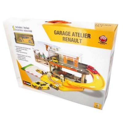 BBurago Garage Atelier Renault 2 niveaux avec un modèle réduit