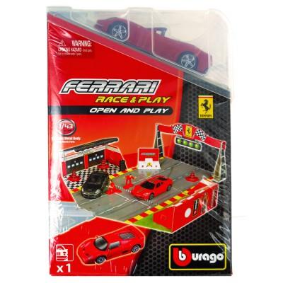 Bburago Piste ferrari race & play avec modèle réduit 1/43 : ferrari california rouge