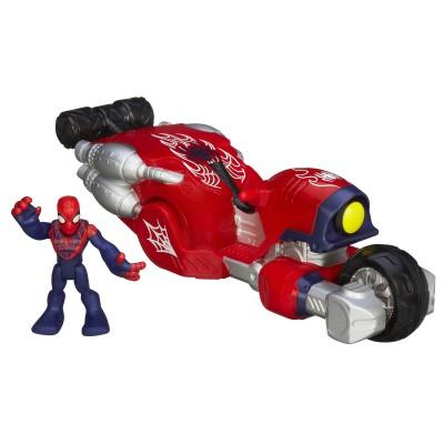 Playskool Figurine spiderman et véhicule : moto cascade