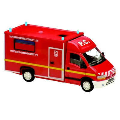 Solido Modèle réduit en métal : Pompiers : Camionnette Renault Master Cellule de Commandement