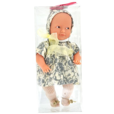 La Nina mini poupée anita : robe fleurie grise et blanche