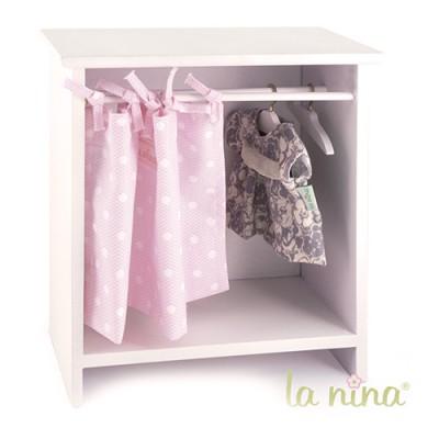La Nina Armoire rose à pois blancs pour poupée Anita 22 cm