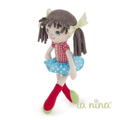 La Nina Poupée de chiffon Olivia volant bleu à pois blancs