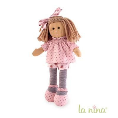 La Nina Poupée de chiffon Marta fleurs roses 38 cm