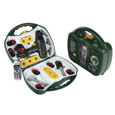 Klein Mallette outils Bosch avec visseuse et téléphone portable