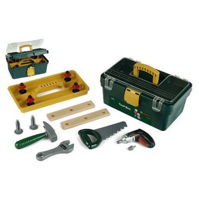 Klein Caisse à outils Bosch avec visseuse/dévisseuse Ixolino à piles et autres outils