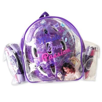 Darpèje Set de protections violetta : casque + coudières + genouillères