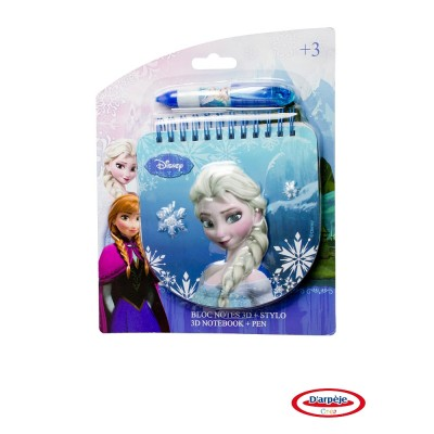 Darpèje Bloc notes 3D + stylo : La Reine des Neiges (Frozen)