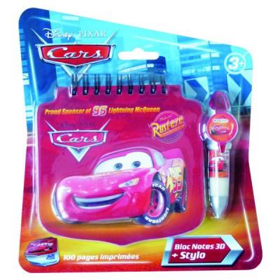 Darpèje Bloc notes 3d avec stylo cars
