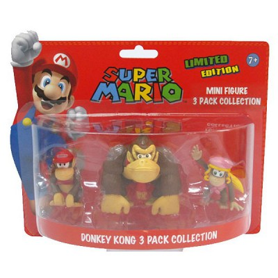 Abysse Corp figurines nintendo pack donkey kong : donkey kong, dixie kong et diddy kong
