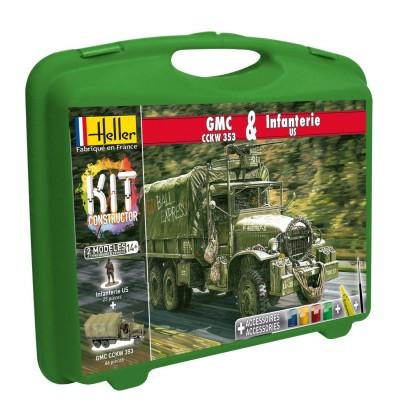 Heller Maquettes 2ème guerre mondiale : Camion GMC CCKW 353 et figurines d'Infanterie US