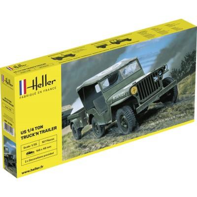 Heller Maquette Jeep Willys Overland et remorque: 1/35