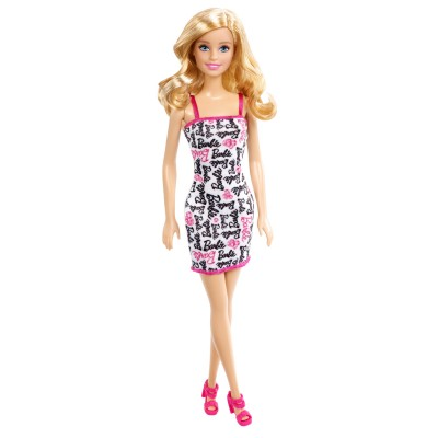 Mattel Poupée Barbie chic : Robe blance avec imprimés Barbie noirs et roses