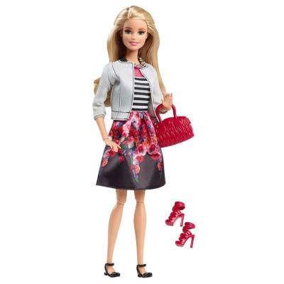 Mattel Poupée Barbie : Amies Mode Luxe : Jupe avec motifs fleurs et gilet gris