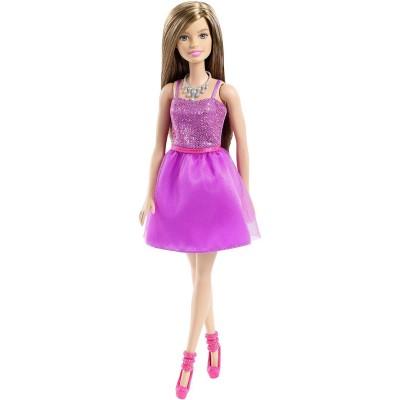 Mattel Poupée Barbie Glamour : Robe brillante violette cheveux châtains