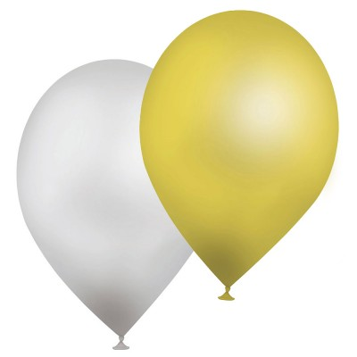 Rubie's Ballons de baudruche Or/Argent : Sac de 10 ballons
