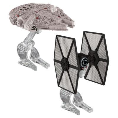 Hot Wheels mini vaisseaux star wars hot wheels : tie fighter du premier ordre et faucon millenium