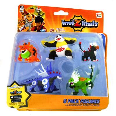 Imc Toys figurines invizimals : coffret 5 figurines : xiong mao, toxitoad, steel dragon, icelion, gryphon