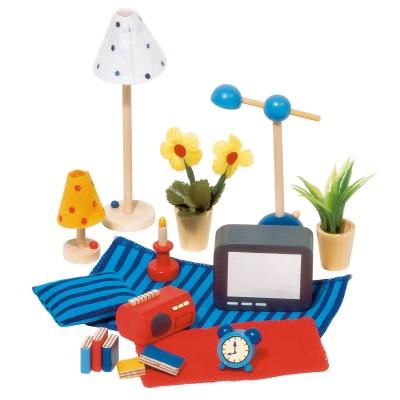 Goki Maison de poupées : accessoires séjour et chambre à coucher