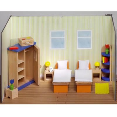 Goki Maison de poupées : mobilier chambre à coucher (lits séparés)