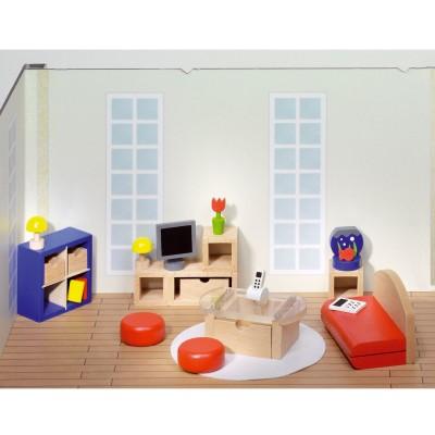 Goki Maison de poupées : mobilier grande salle de séjour