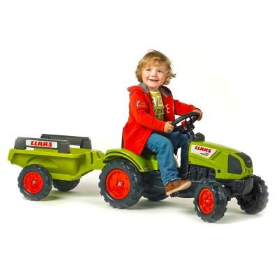 Falk / falquet tracteur à pédales claas arion 410 + remorque