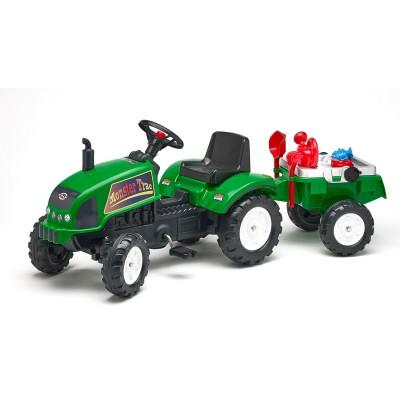 Falk / falquet tracteur à pédales farmtrac vert avec remorque et accessoires