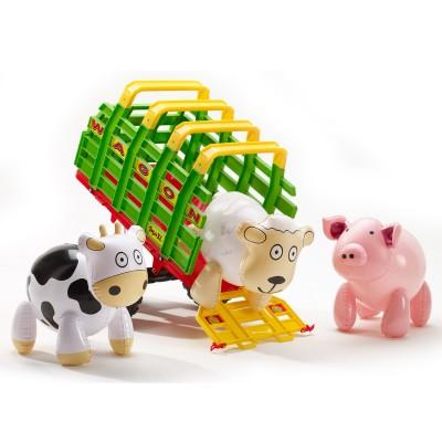 Falk / Falquet Remorque Wagon maxi + 3 animaux de la ferme gonflables