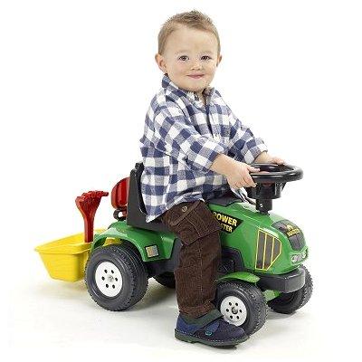 Falk / Falquet Tracteur vert Baby Power Master + Remorque et accessoires (sans pédales)