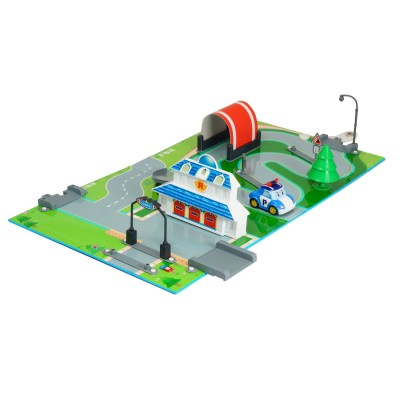 Ouaps Aire de jeu 3d robocar poli : quartier général