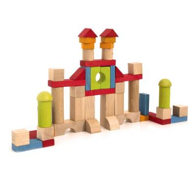 Jeujura Blocs de construction : 52 pièces en bois