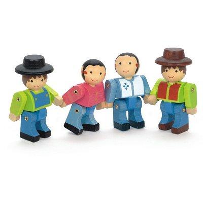 JeuJura Les fermiers 4 personnages en bois. Les fermiers 4 personnages en bois