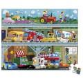 Janod Puzzle 100 pièces : Les véhicules en valisette