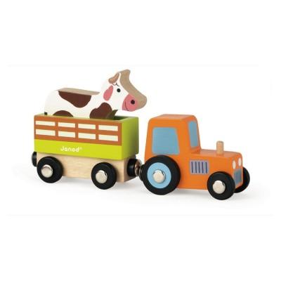 Janod Story : Set Ferme - Tracteur, remorque et vache