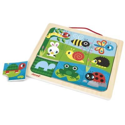 Janod Puzzle magnétique 9 pièces : Magneto Puzzle Happy Garden