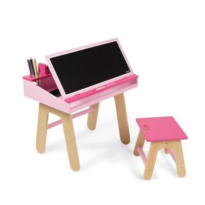 Janod Bureau et chaise en bois roses
