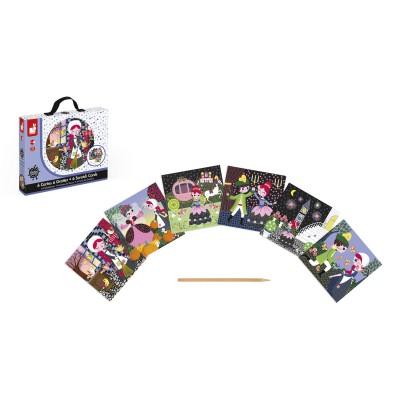 Janod 6 cartes à gratter : Cendrillon. 6 cartes à gratter : Cendrillon
