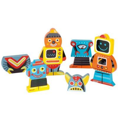 Janod Magnets en bois Funny : Magnet Robots