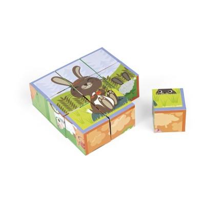 Janod Puzzle cubes 9 cubes : Kubkid Les animaux de la ferme