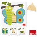 Goula Encastrement 8 pièces en bois : Puzzle 3 niveaux papillon