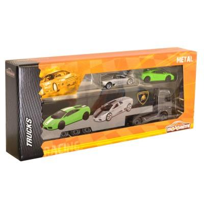 Majorette Camion Racing Truck + 2 voitures : Camion noir Lamborghini