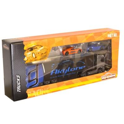 Majorette Camion Racing Truck + 2 voitures : Camion noir et bleu Akylone